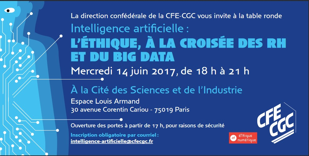 "Table Ronde ""Intelligence Artificielle"", CFE-CGC, 14 Juin 2017 à 18h"